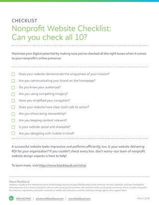 Nonprofit Website Checklist: Can you check all 10?