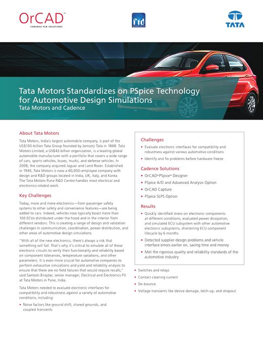 Tata Motors Standardizes on PSpice Technology for Automotive Design Simulations