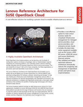Lenovo Reference Architecture for SUSE OpenStack Cloud