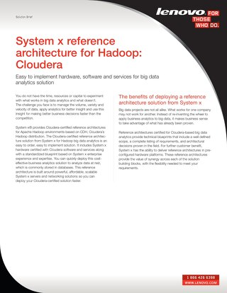 System x Reference Architecture for Hadoop - Cloudera