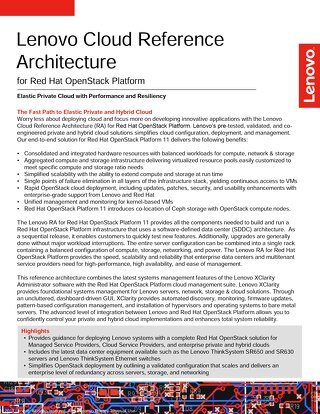 Lenovo Cloud Reference Architecture for Red Hat OpenStack Platform
