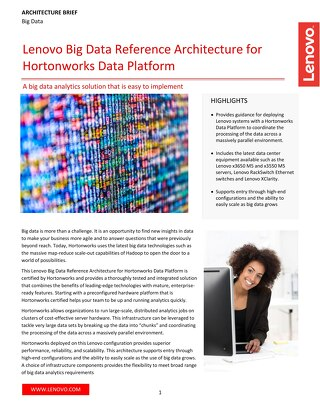 Lenovo Big Data Reference Architecture for Hortonworks Data Platform
