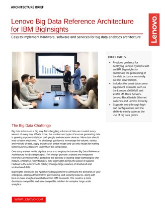 Lenovo Big Data Reference Architecture for IBM BigInsights