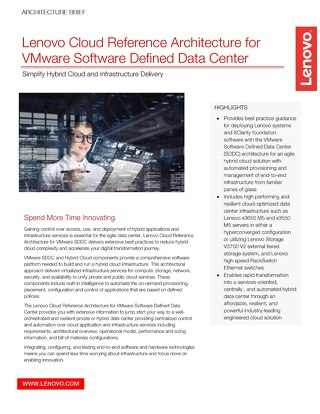 Lenovo Cloud Reference Architecture for VMware SDDC
