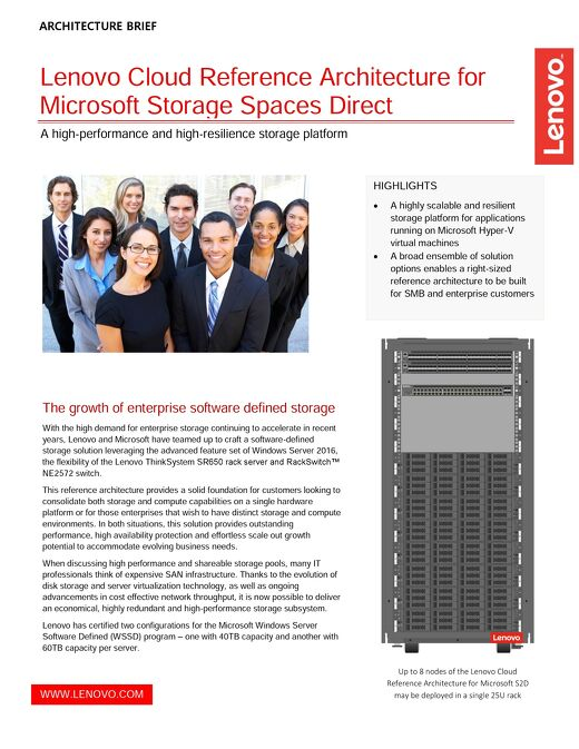 Lenovo Cloud Reference Architecture for Microsoft Storage Spaces Direct