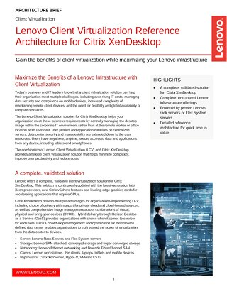Lenovo Client Virtualization Reference Architecture for Citrix XenDesktop