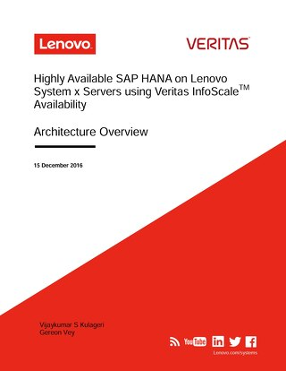 Highly Available SAP HANA on Lenovo System x Servers using Veritas InfoScale Availability