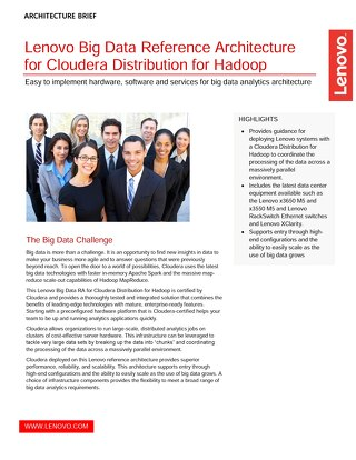 Lenovo Big Data Reference Architecture for Cloudera Distribution for Hadoop