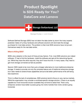 Storage Switzerland - Is SDS Ready for You-DataCore and Lenovo