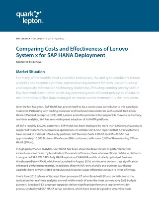 Quark + Lepton - Comparing Costs and Effectiveness of Lenovo System x for SAP HANA Deployment
