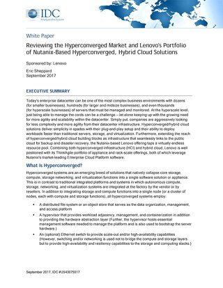 IDC - Lenovo's Portfolio of Nutanix-Based Hyperconverged, Hybrid Cloud Solutions