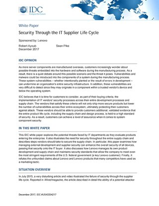 IDC - Security Through the IT Supplier Life Cycle