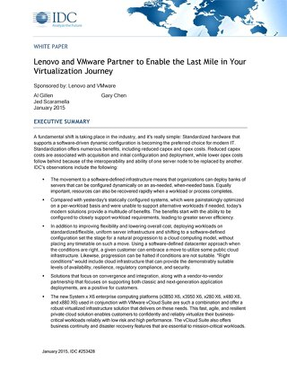 IDC - Lenovo and VMware Partner to Enable the Last Mile in Your Virtualization Journey
