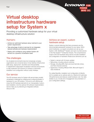 Virtual Desktop Infrastructure Hardware Setup for System x