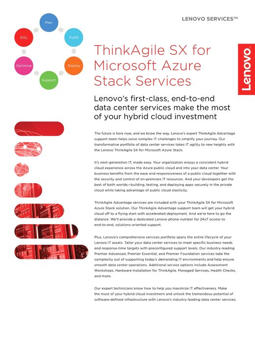 Lenovo ThinkAgile SX for Microsoft Azure Stack Services