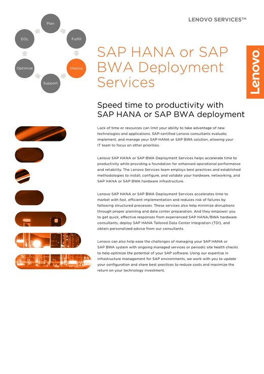 Lenovo SAP HANA or SAP BWA Deployment Services