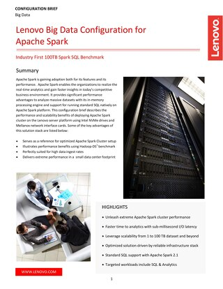 Lenovo Big Data Configuration for Apache Spark
