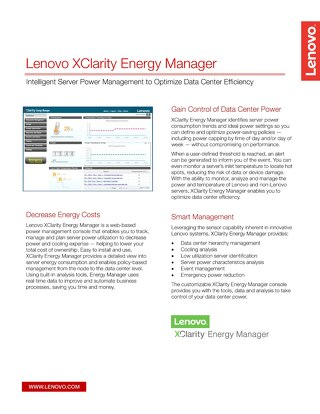 Lenovo XClarity Energy Manager