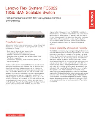 Flex System FC5022 16Gb SAN Scalable Switch