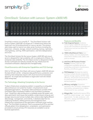 SimpliVity OmniStack Solution with Lenovo System x3650 M5