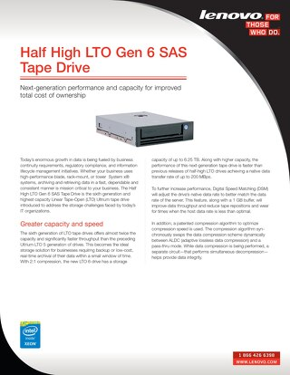 Half High LTO Gen 6 SAS Tape Drive
