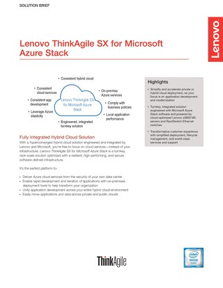 Lenovo ThinkAgile SX for Microsoft Azure Stack