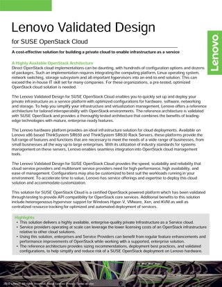 Lenovo Validated Design for SUSE OpenStack Cloud