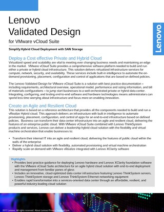 Lenovo Validated Design for VMware vCloud Suite