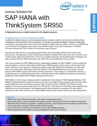 Lenovo Solution for SAP HANA with ThinkSystem SR950