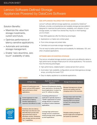 Lenovo Software-Defined Storage Appliances Powered by DataCore Software
