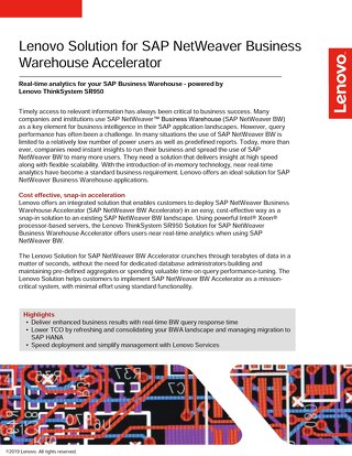 Lenovo Solution for SAP NetWeaver Business Warehouse Accelerator