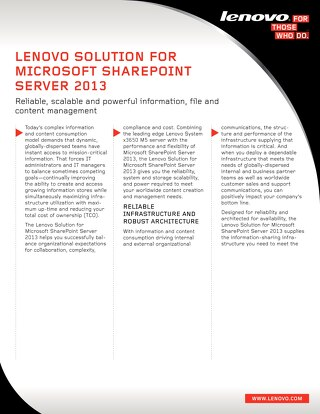 Lenovo Solution for Microsoft SharePoint Server 2013