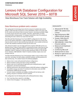 Lenovo HA Database Configuration for Microsoft SQL Server 2016 – 60TB
