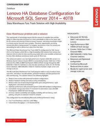Lenovo HA Database Configuration for Microsoft SQL Server 2014 – 40TB