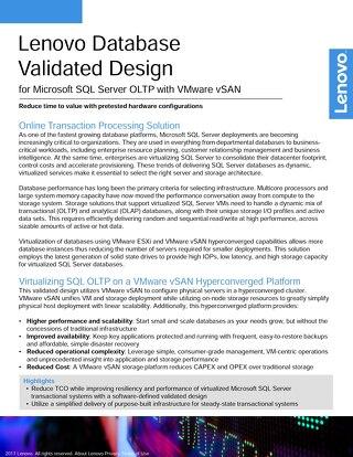 Lenovo Database Validated Design for Microsoft SQL Server OLTP with VMware vSAN