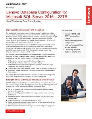 Lenovo Database Configuration for Microsoft SQL Server 2016 – 22TB