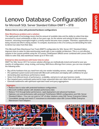 Lenovo Database Configuration for Microsoft SQL Server Standard Edition DWFT – 9TB