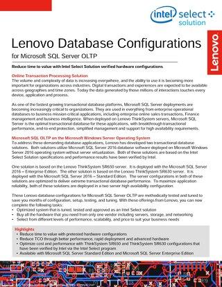 Lenovo Database Configurations for Microsoft SQL Server OLTP