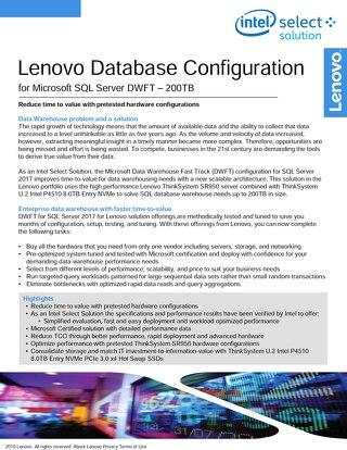 Lenovo Database Configuration for Microsoft SQL Server DWFT - 200TB
