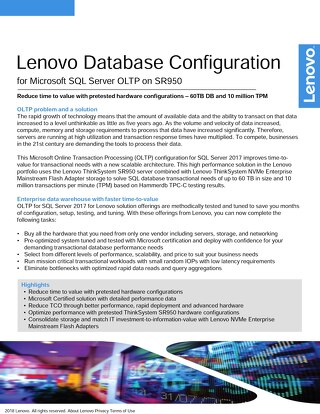 Lenovo Database Configuration for Microsoft SQL Server OLTP on SR950