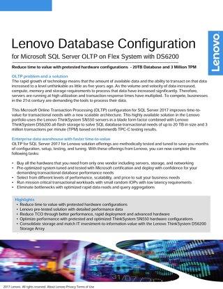 Lenovo Database Configuration for Microsoft SQL Server OLTP on Flex System with DS6200