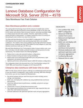 Lenovo Database Configuration Microsoft SQL Server 2016 – 45TB