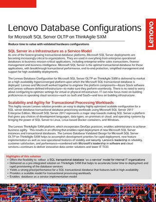 Lenovo Database Configurations for Microsoft SQL Server OLTP on ThinkAgile SXM