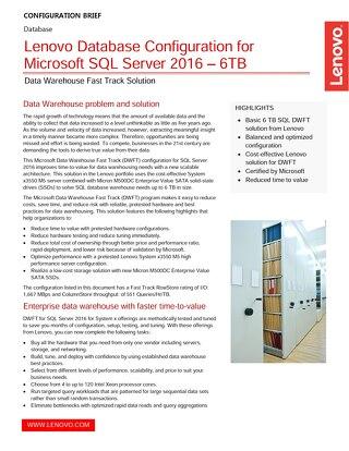 Lenovo Database Configuration for Microsoft SQL Server 2016 – 6TB