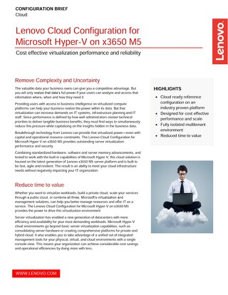 Lenovo Cloud Configuration for Microsoft Hyper-V on x3650 M5