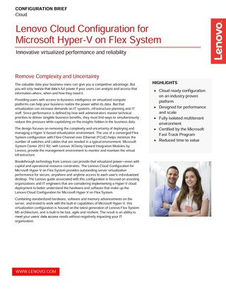 Lenovo Cloud Configuration for Microsoft Hyper-V on Flex System