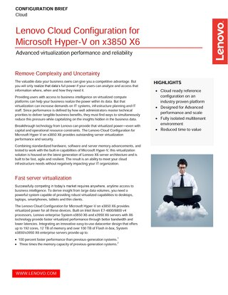 Lenovo Cloud Configuration for Microsoft Hyper-V on x3850 X6