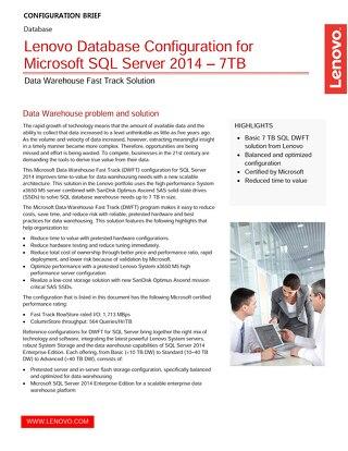 Lenovo Database Configuration for Microsoft SQL Server 2014 – 7TB