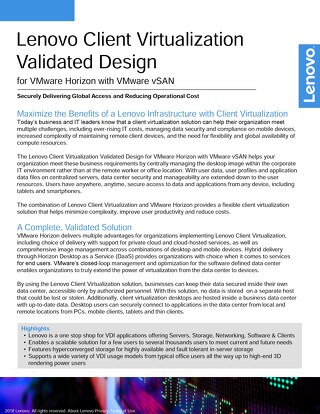 Lenovo Client Virtualization Validated Design for VMware Horizon with VMware vSAN