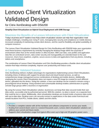 Lenovo Client Virtualization Validated Design for Citrix XenDesktop with DS6200